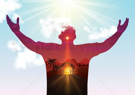 Symbols : Double exposure man with open arms