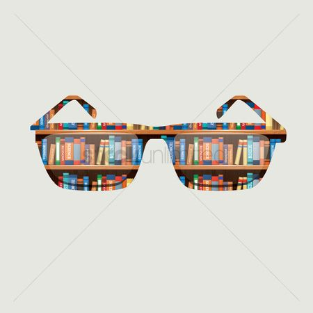 Fashions : Double exposure of a sunglasses and library