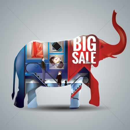 Shops : Double exposure of an elephant and a shopping mall