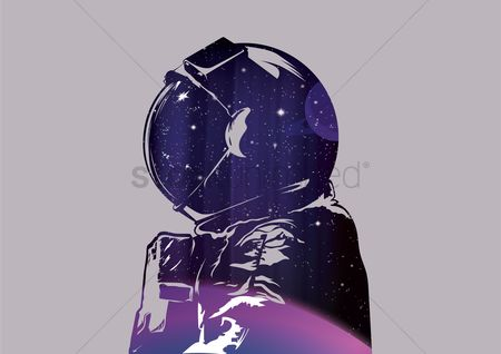 Moon : Double exposure of astronaut