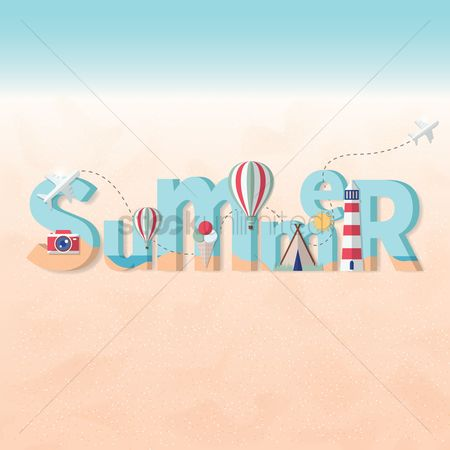 Aeroplanes : Double exposure of beach and summer text