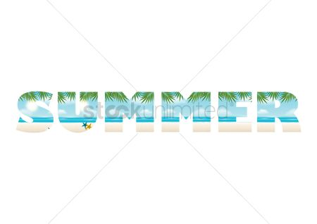 Starfishes : Double exposure of beach and summer text