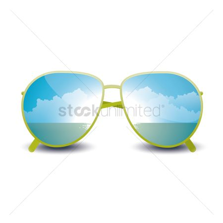 Summer : Double exposure of beach and sun glasses