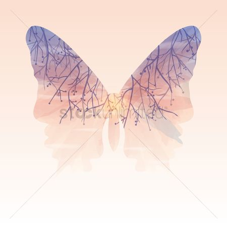 Combine : Double exposure of butterfly and nature