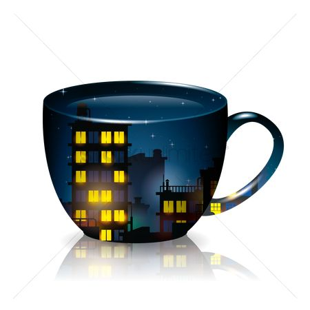 Coffee cups : Double exposure of cup and city