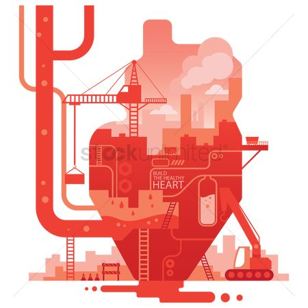Machineries : Double exposure of heart and factory