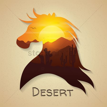 Cactus : Double exposure of horse and desert