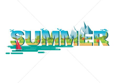 Summer : Double exposure of nature landscape and summer text