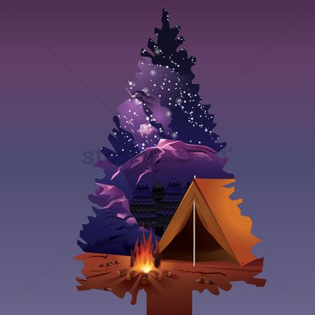 Double exposure : Double exposure of pine tree and camping