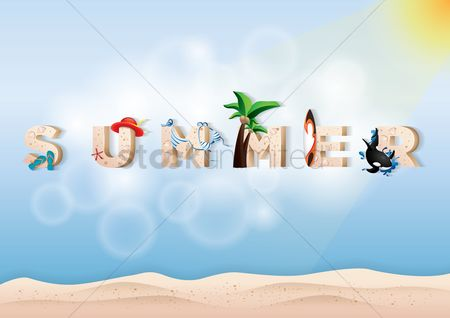 Starfishes : Double exposure of sand and summer text