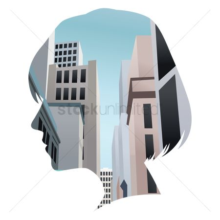 Double exposure : Double exposure of woman and buildings