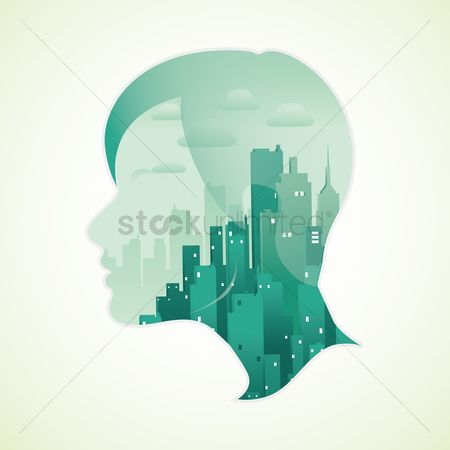 Double exposure : Double exposure of woman and city