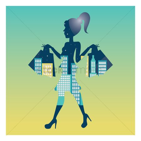 Double exposure : Double exposure of woman and cityscape