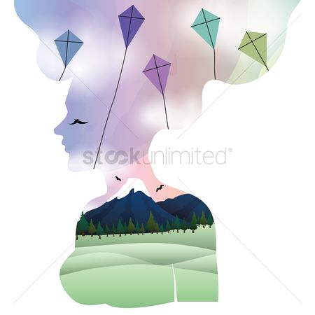 Moon : Double exposure of woman and kites