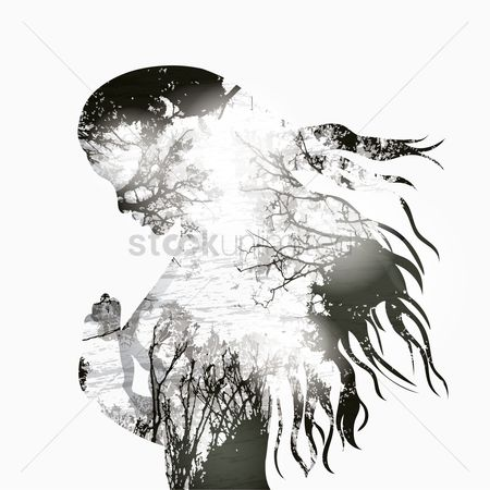 Double exposure : Double exposure of woman and nature