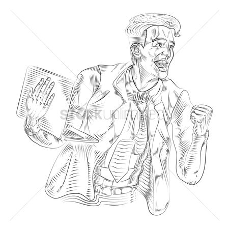 Champions : Drawing of a successful businessman