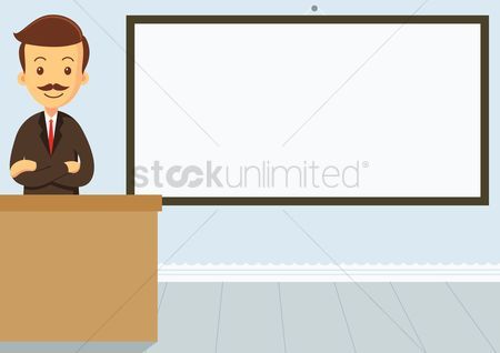 Lecture : Educator standing with his arms crossed in the classroom with an empty whiteboard