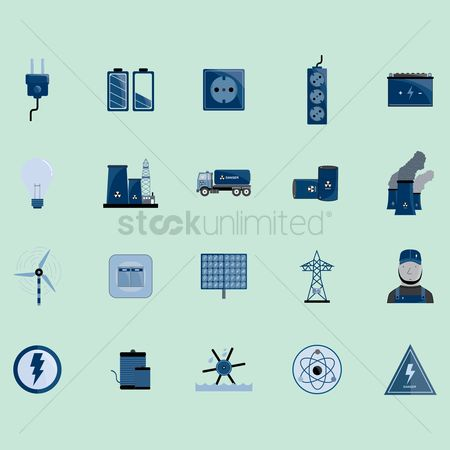 Lighting : Electric icons set
