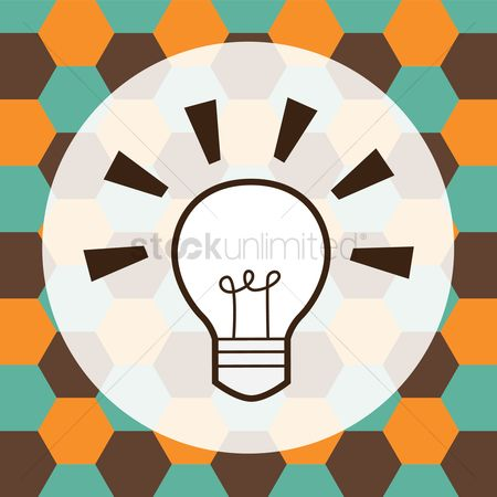 Filament : Electric lightbulb on hexagon background