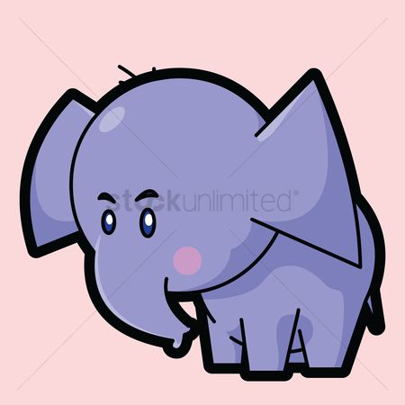 Standing : Elephant on a pink background
