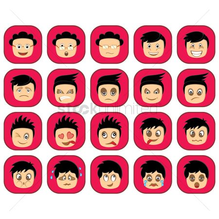 Annoy : Emoticon set of boy s expressions