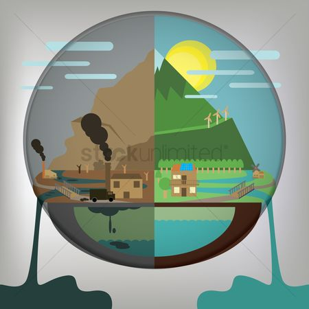 Pollutions : Environment alert concept