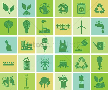 Power button : Environment conservation icons