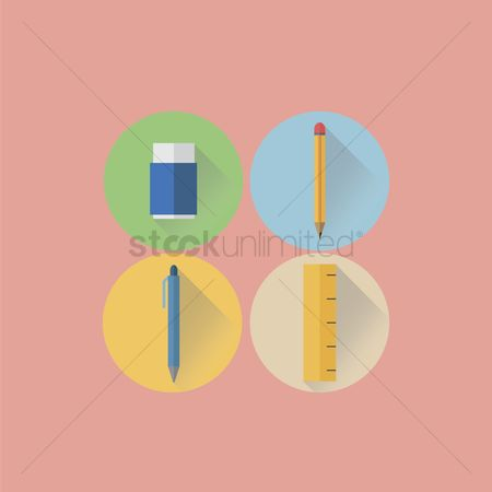 Inch : Eraser  pencil  pen and ruler icon