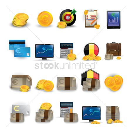 Currencies : Euro currency icon set