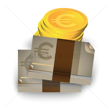 Wealth : Euro currency notes and coins