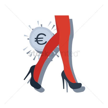 Icons : European union currency with female high heels