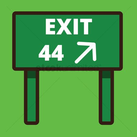 44 : Exit road sign board