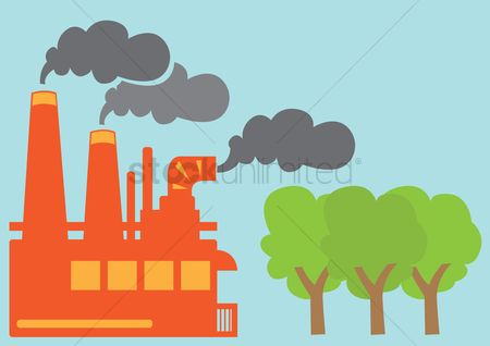 Pollutions : Factory with polluted smoke