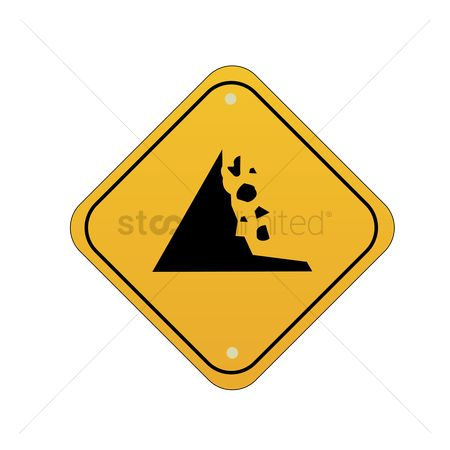 Attention : Falling rocks road sign
