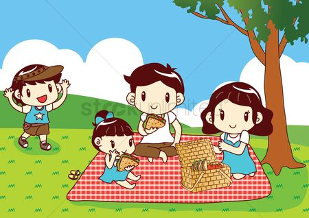 Eat : Family having picnic in park