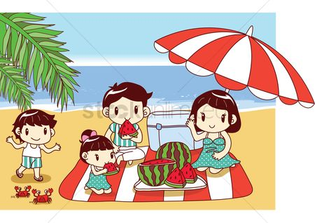 Eat : Family having watermelon at beach