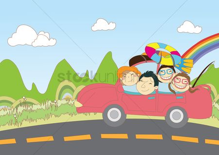 Happy summer : Family out for vacation in car