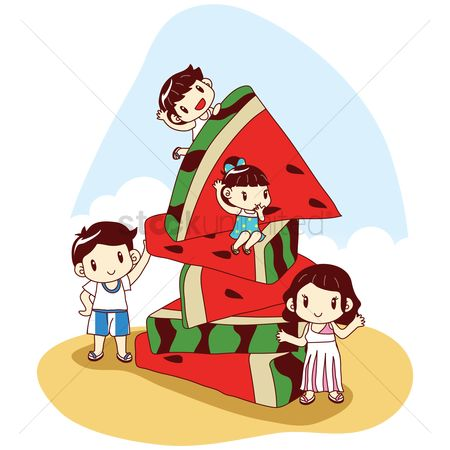 Kids : Family with huge watermelon slices