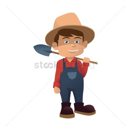 Straw : Farmer holding a shovel