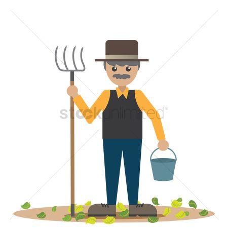 Agriculture : Farmer with pitchfork and bucket