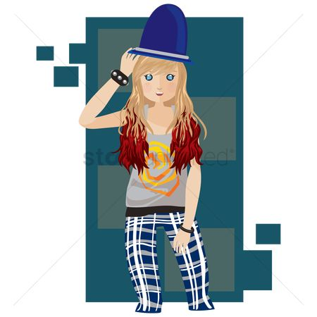 Skirt : Fashionable hipster girl
