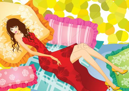 Laying : Fashionable woman lying on pillow