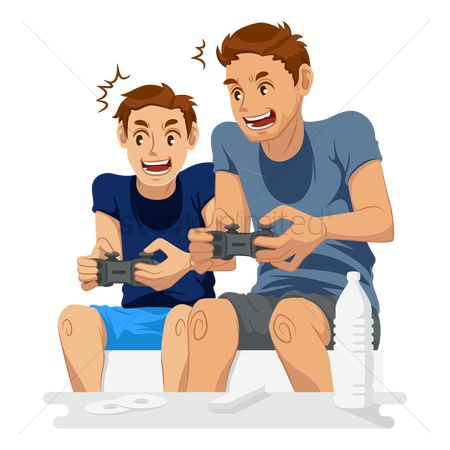 Play kids : Father playing video games with son