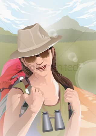 Hiking : Female traveler