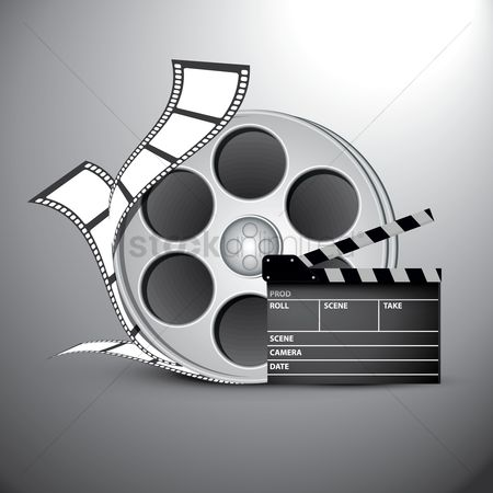 Reels : Film reel and clapboard