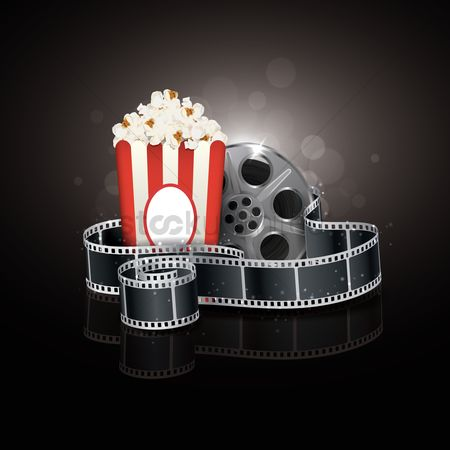Reels : Filmstrip and popcorn design