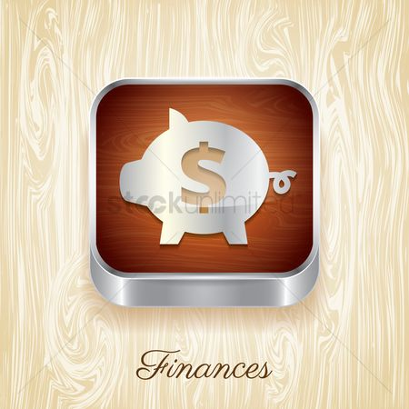 Wooden sign : Finances button