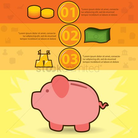 Piggy banks : Financial infographic
