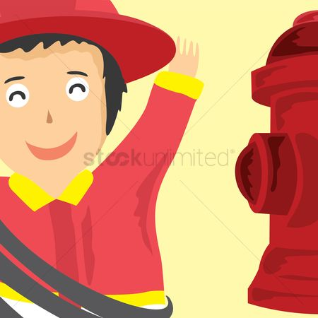 Fire extinguisher : Firefighter and extinguisher
