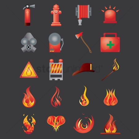 Caution : Firefighter icons